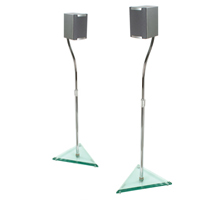 Stealth Crystal™ Home Cinema Speaker Stands Height Adjustable – with Deluxe Glass Base