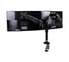 Full Motion Twin Screen with Dual Articulated Arms Flat Screen Desk Mount - Rear View with Screen