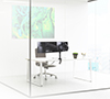 Full Motion Twin Screen with Dual Articulated Arms Flat Screen Desk Mount - Lifestyle Image