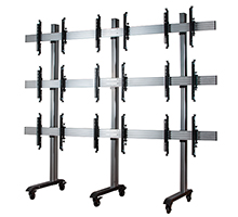 BT8371-3x3-60 - System X Universal Mobile Video Wall Stand for 3x3 Video Walls