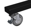Includes non-marking 4 inch locking/braked castors