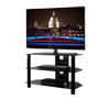 BTF102 3 Shelf Tempered Black Glass AV Stand with Screen