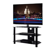 BTF102 3 Shelf Tempered Black Glass AV Stand