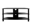 BTF103 3 Shelf Tempered Black Glass AV Stand