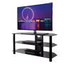BTF103 3 Shelf Tempered Black Glass AV Stand with Screen
