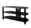 BTF103 3 Shelf Tempered Black Glass AV Stand