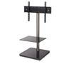 BTF800 Flat Screen TV Stand with Square Base in Black with Chrome Pole