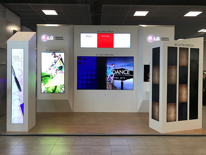 LG Stand @ Midwich Technology Exposed 2017 using B-Tech BT9909 and BT8312