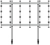 BT93INFWP-M-5X5 - Mobile Stand with Silver Columns
