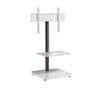 BTF800 Flat Screen TV Stand with Square Base in White with Chrome Pole